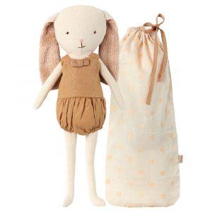 muñeco conejito dorado con bolsita