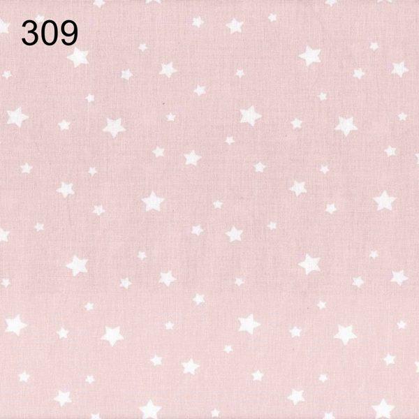 tela rosa empolvado con estrellas blancas