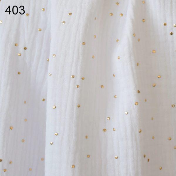 tela blanco topo oro doble gasa