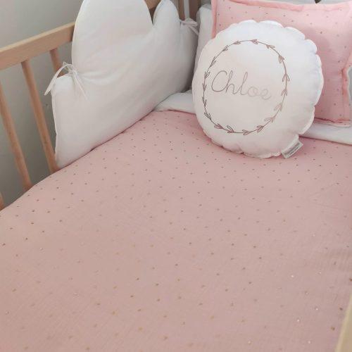 Funda nórdica rosa hojitas oro/ blanco