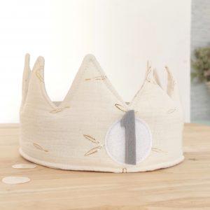 Corona cumpleaños Beige ramita oro