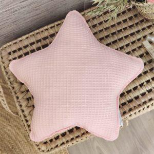 Cojín estrella waffle rosa