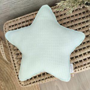 Cojín estrella waffle verde agua