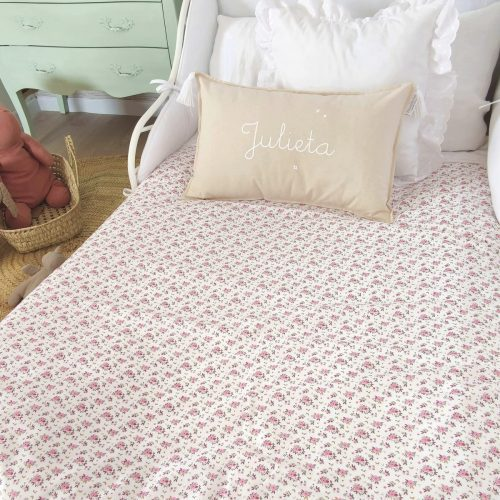 Funda nórdica florecitas rosa/ blanco